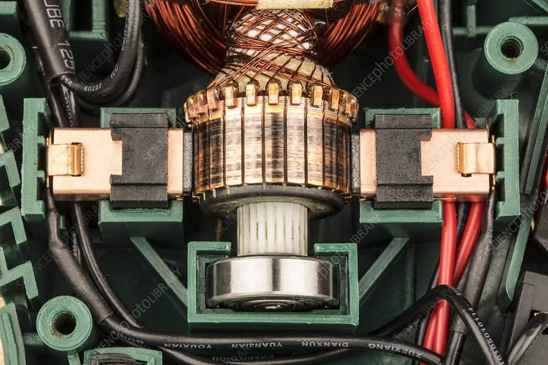 Close up of a stationary electric motor