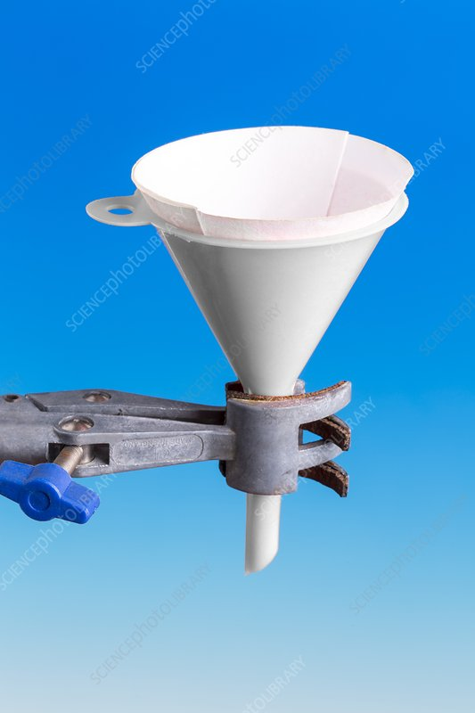 Filter paper in a plastic funnel