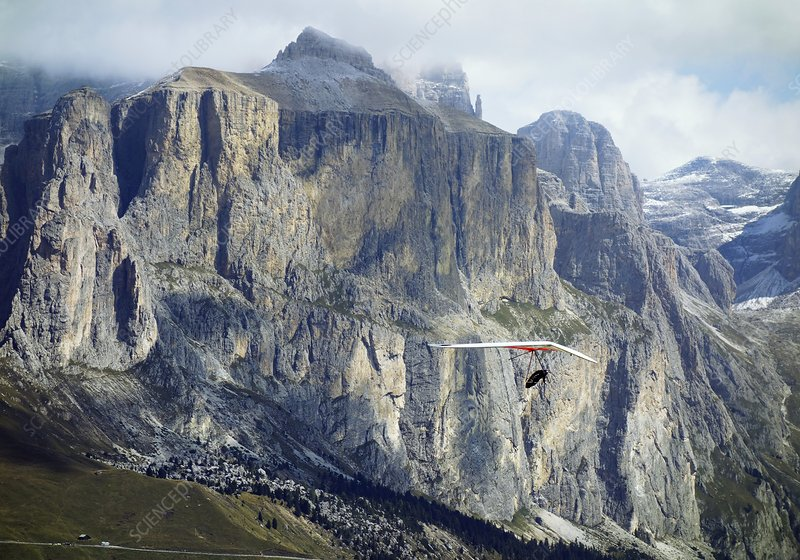 Hang glider in the Dolomites, Italy