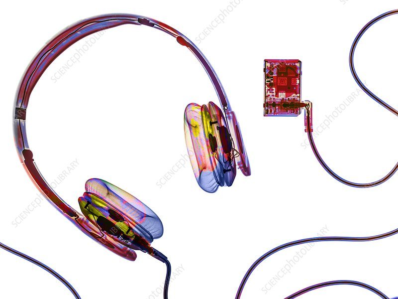 Headphones and mp3 player, X-ray
