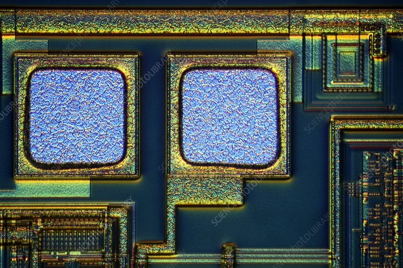 Microchip surface, light micrograph