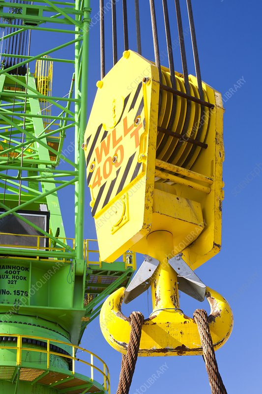 A crane hook on a 400 tonne crane