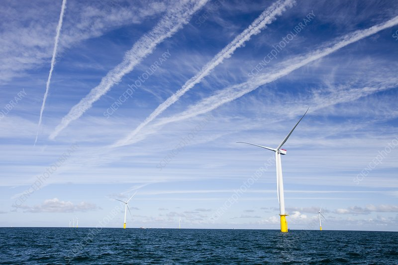 Airplane over offshore wind farm