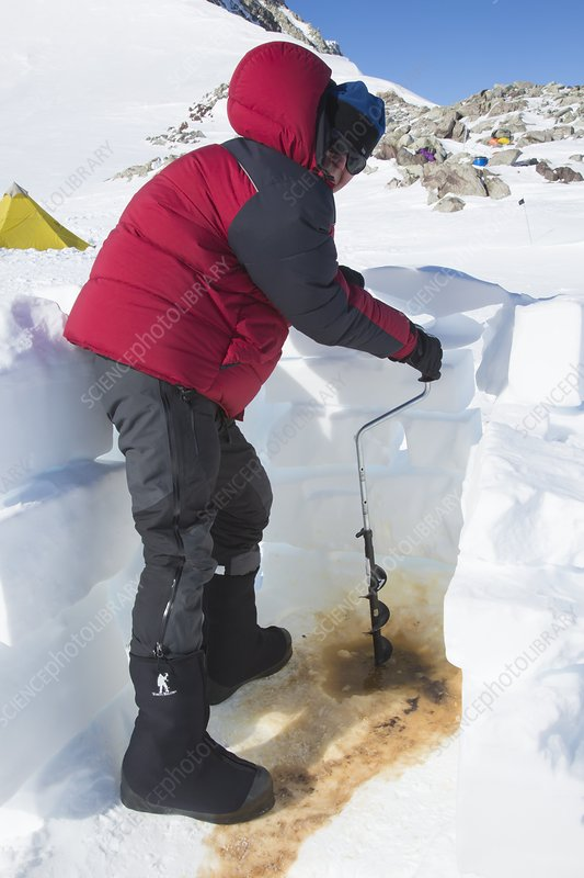Drilling a new toilet hole, Antarctica