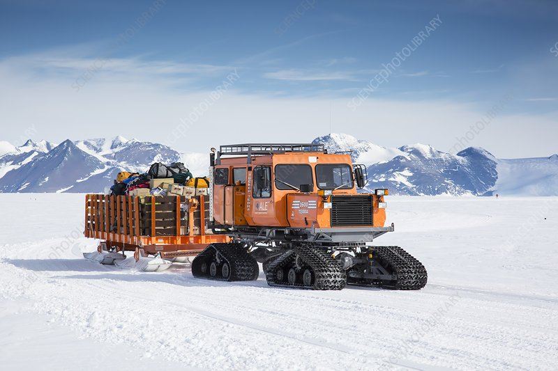 A snowcat at Union Glacier, Antarctica