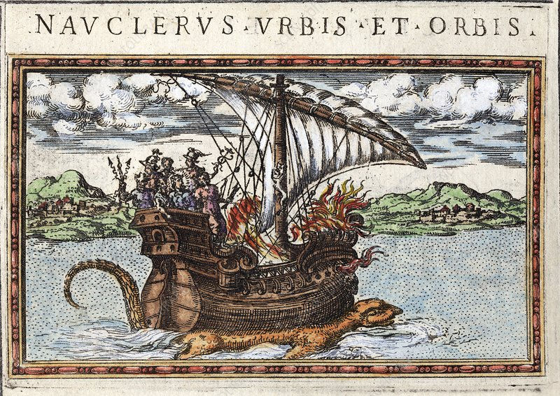 1588 sea monster dragon seen under ship