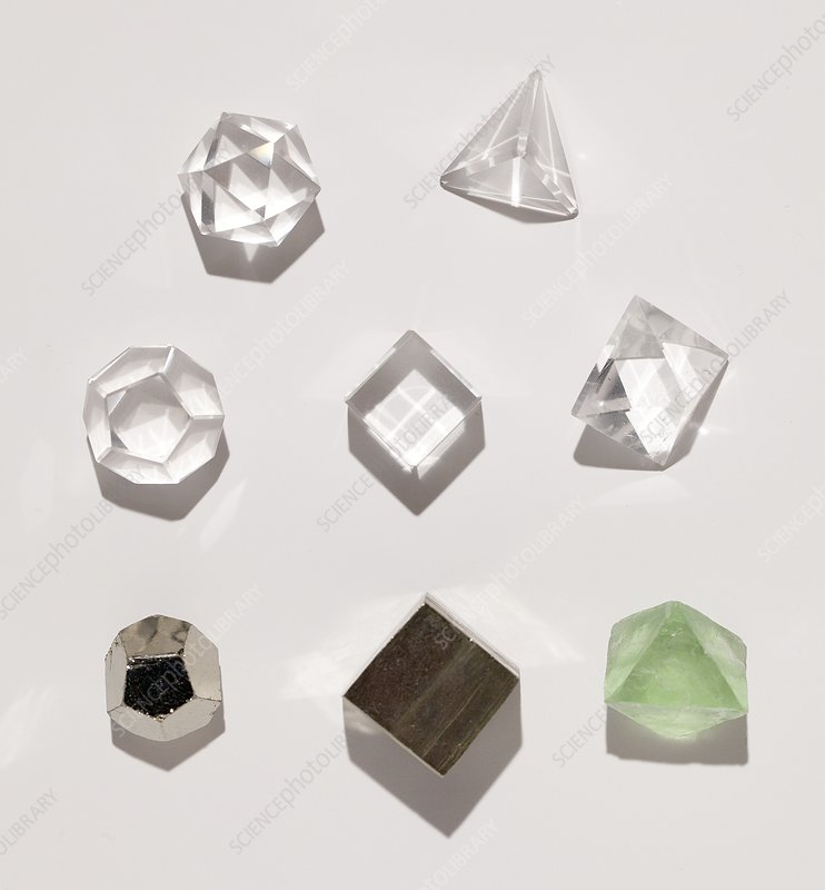 Five platonic solids with 3 natural forms
