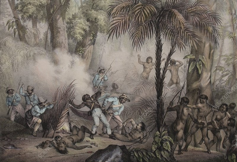 1836 Rugendas Brazil Indian Masacre