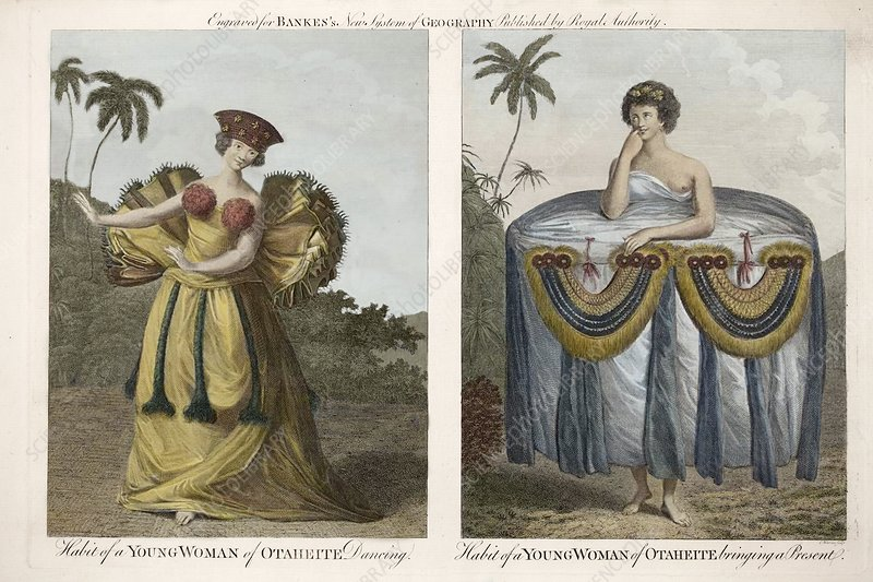 Tahitian women from Banks's voyages, 1769