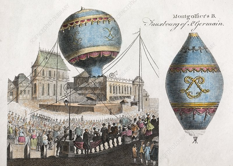 Montgolfier balloon flight, 1783