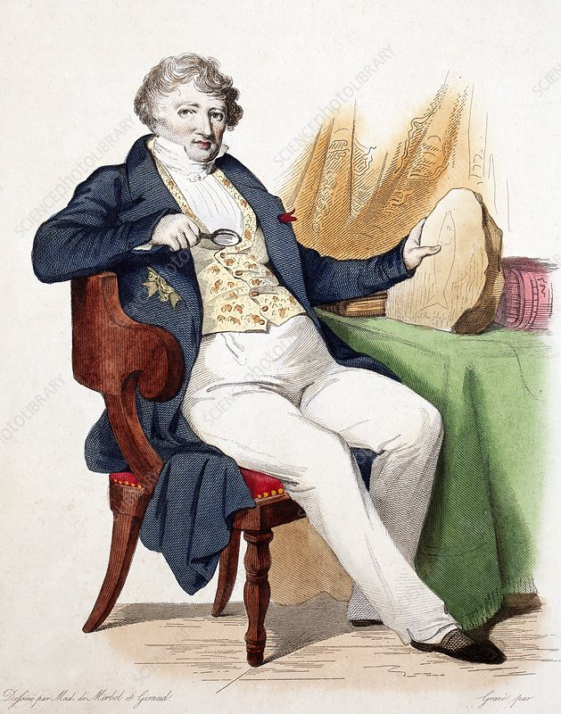 1830 Colour portrait Baron Cuvier fossil