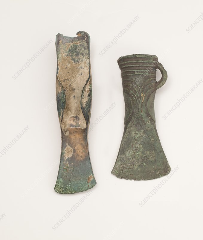 Two bronze age axes showing development