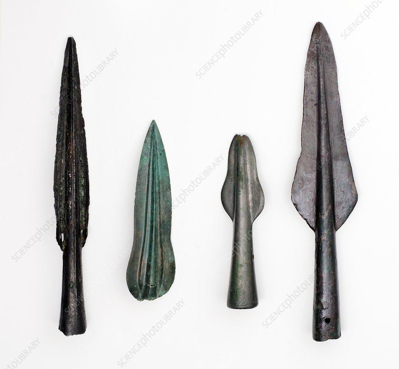 Four Bronze age spear heads