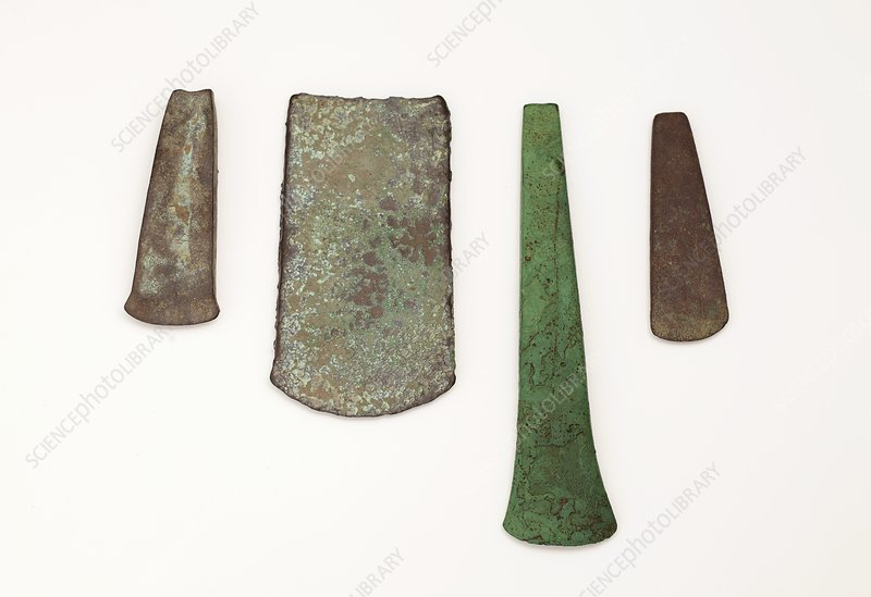 Four simple Copper age flat axe celts
