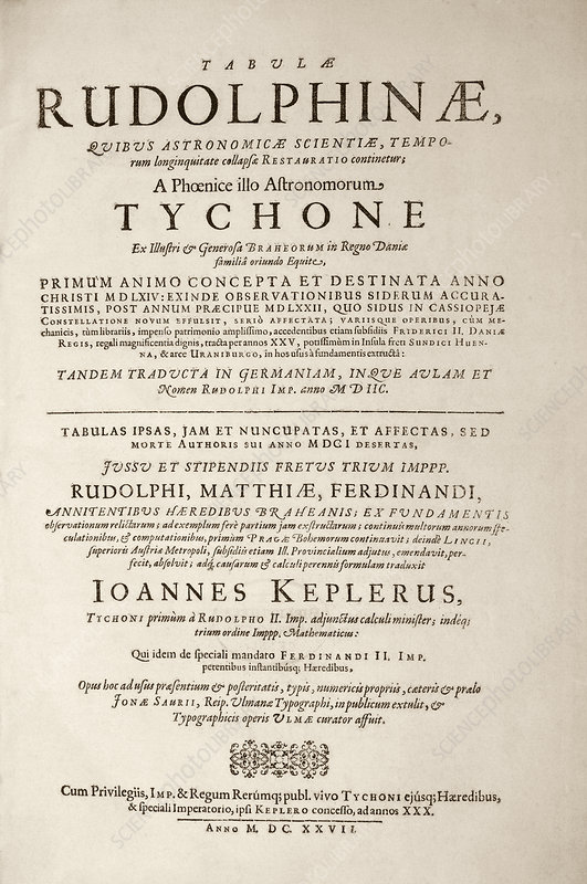'Rudolphine Tables' (1627)
