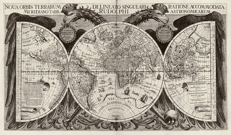 Rudolphine Tables world map, 17th century