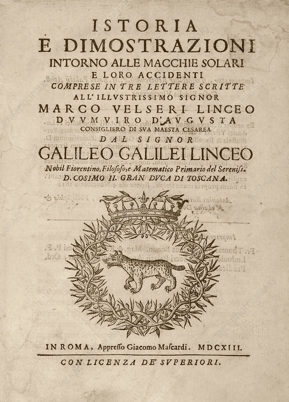 Galileo on sunspots, 'Istoria' (1613)