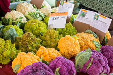 Cauliflower market stall, USA