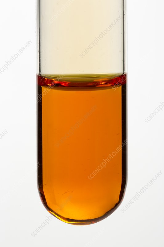 Test tube of bromine water