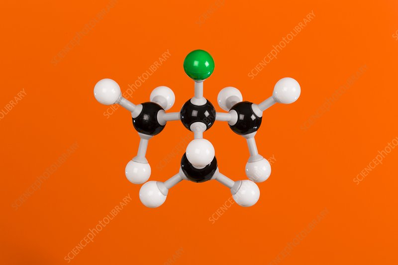 2-chloro-2-methylpropane, molecular model