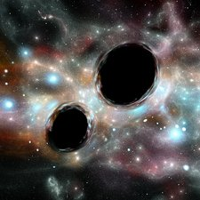 Orbiting black holes, illustration