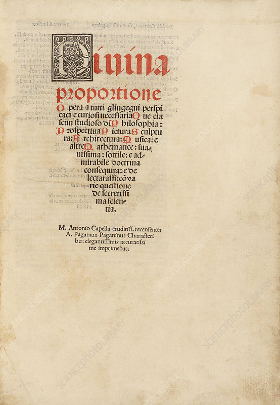 'On the Divine Proportion' (1509)