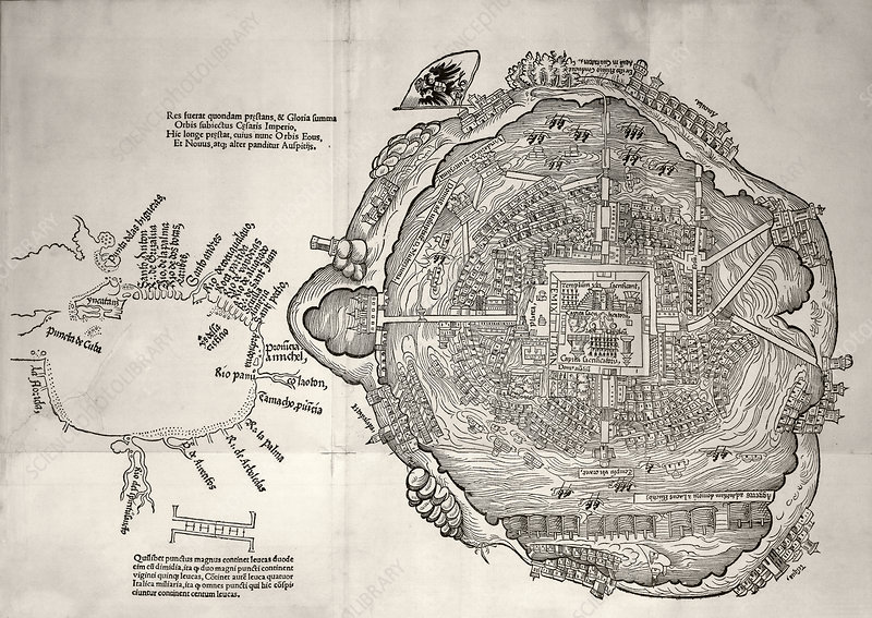 Mexico City and Gulf of Mexico, 1524