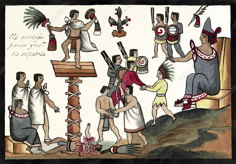 Sacrifice of an Aztec noble, 15th century