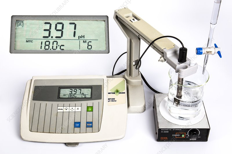 PH meter recording a titration