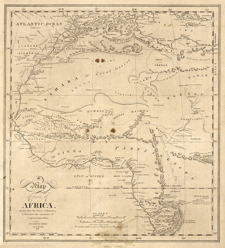 Map of north-western Africa, 1816