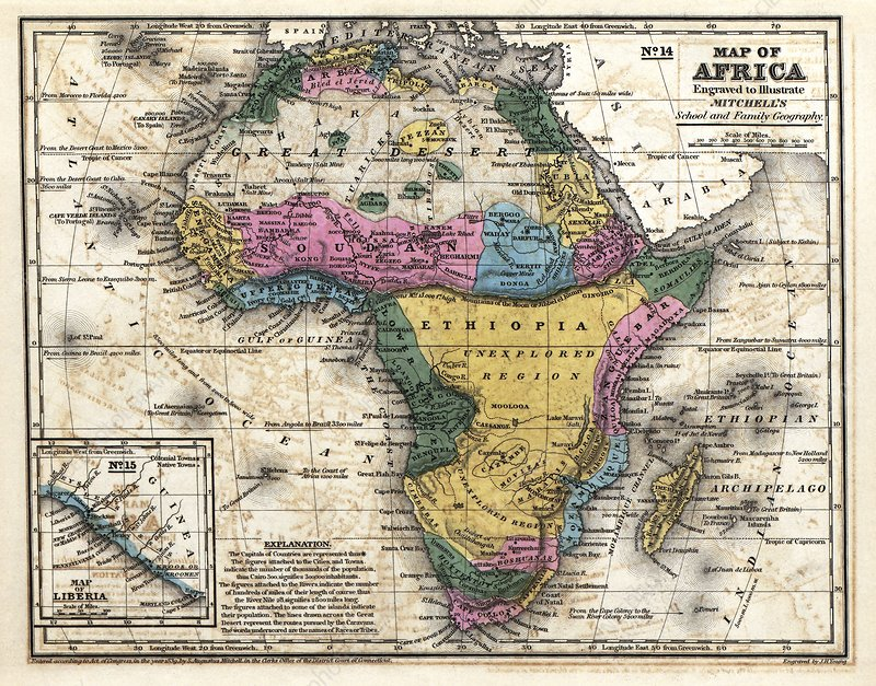 Map of Africa, 1839