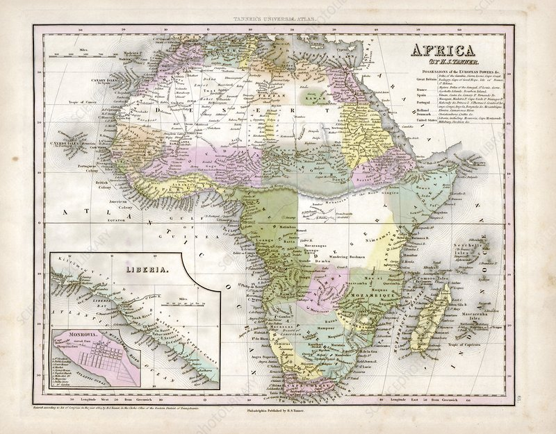 Map of Africa, 1844