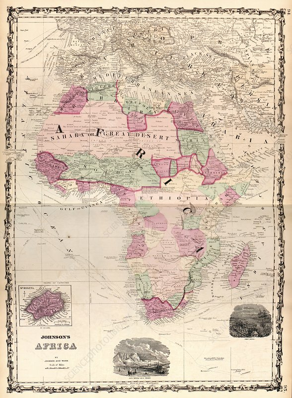 Map of Africa, 1862