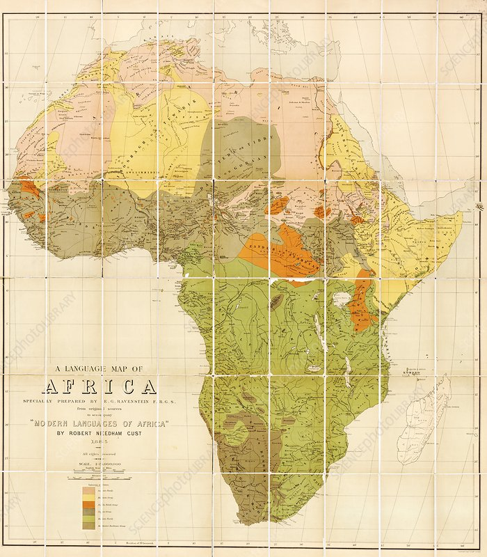 Map of the languages of Africa, 1883