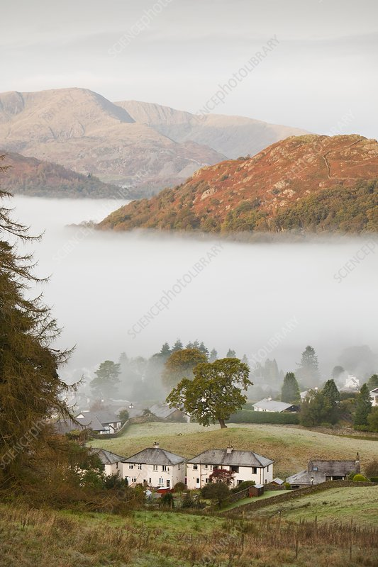 Temperature inversion over Ambleside, UK