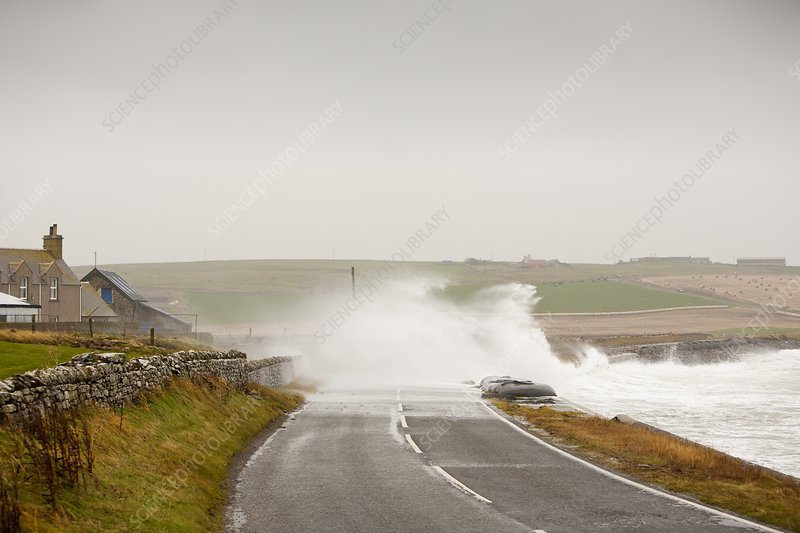 Storm waves on, Orkney, UK