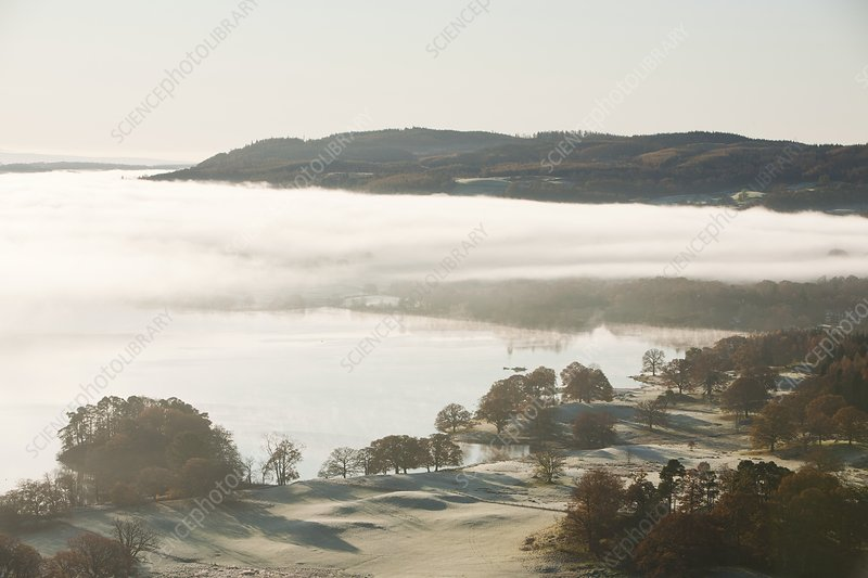 Morning mist over Lake Windermere, UK