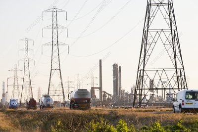 Power lines to a petrochemical plant