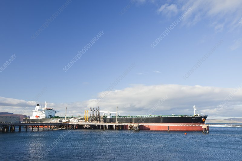 Greek oil tanker docked in Scotland, UK
