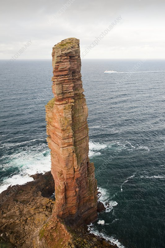 Orkney ferry passing the Old Man of Hoy