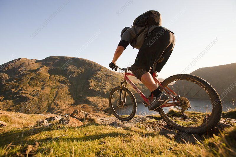Mountain bikers, Helvellyn Range, UK