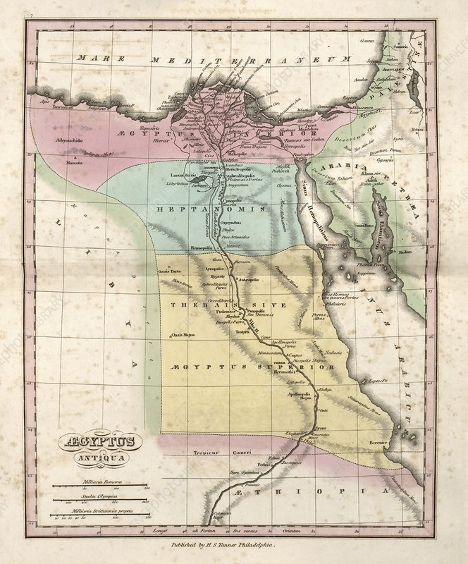 Map of Ancient Egypt, 19th century