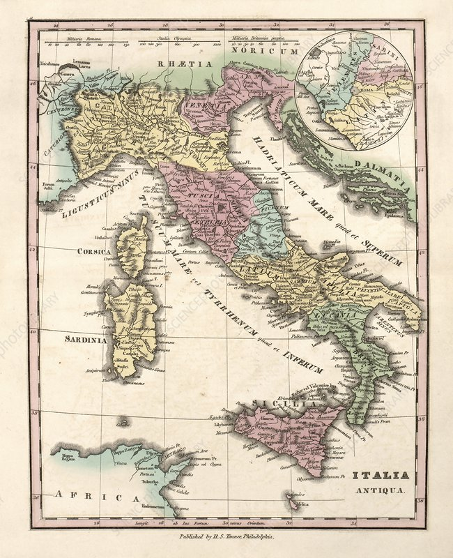 Map of Ancient Italy, 19th century