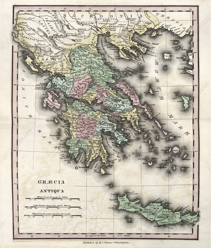 Map of Ancient Greece, 19th century