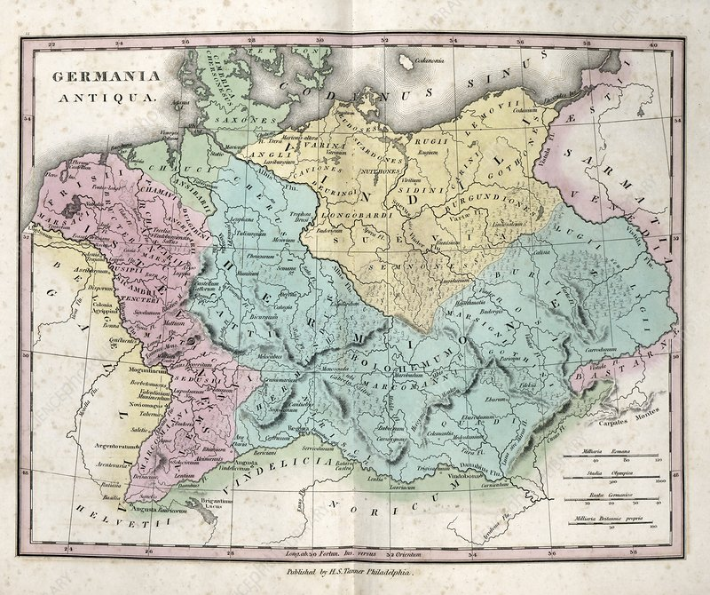 Map of Ancient Germania, 19th century