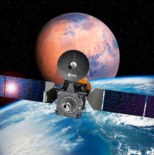 ExoMars spacecraft with Earth and Mars