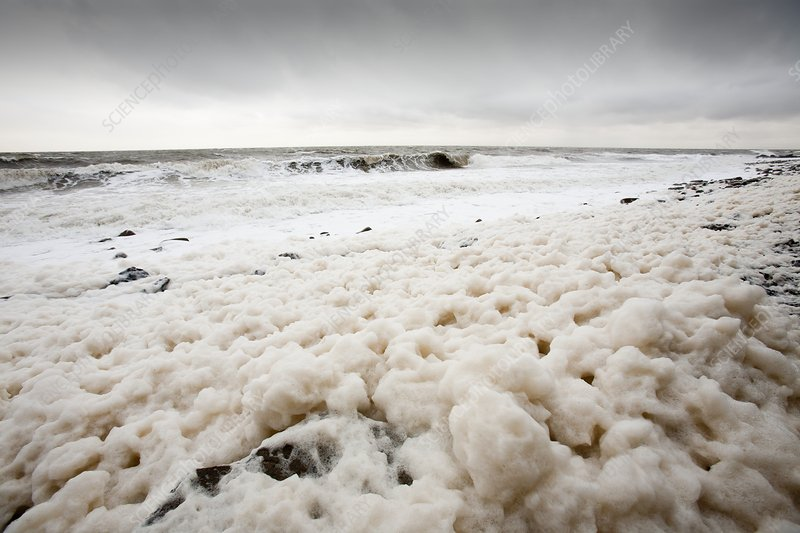Spume from storm waves