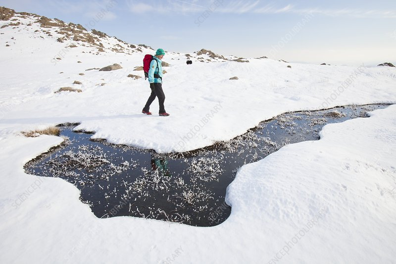 Woman hill walker by a frozen bog