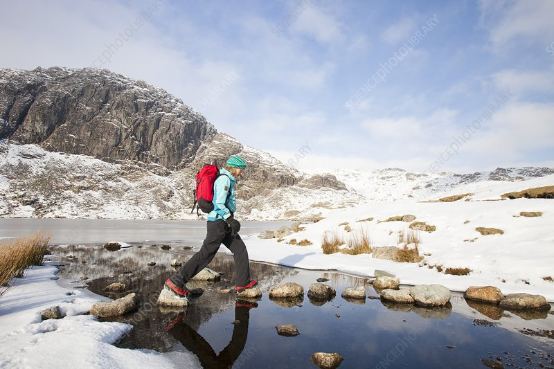 Woman walker and frozen Stickle Tarn