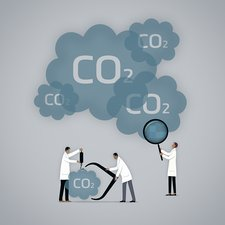 Measuring carbon footprint, illustration